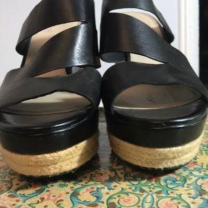 Platform wedge sandals leather & rope